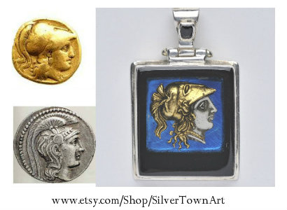 Athena Pendant, SilverTownArt Greek Jewelry Shop