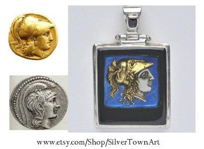 Athena Pendant, SilverTownArt Greek Jewelry Shop
