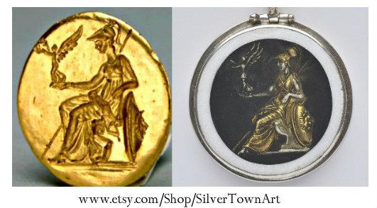Athens's Offering Pendant, SilverTownArt Greek Jewelry Shop