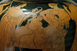 Hercules is depicted with great artistry in this 5th c. BC pot, while strangling the giant snakes.