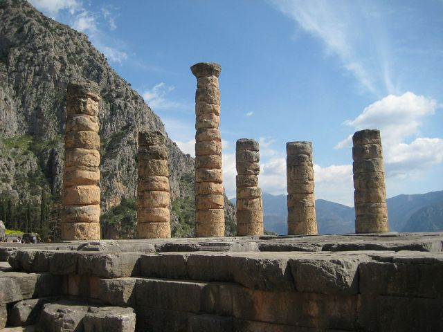 The Temple of Apollo in  Delphi, a place that was considered to be the centre of the world by ancient Greeks